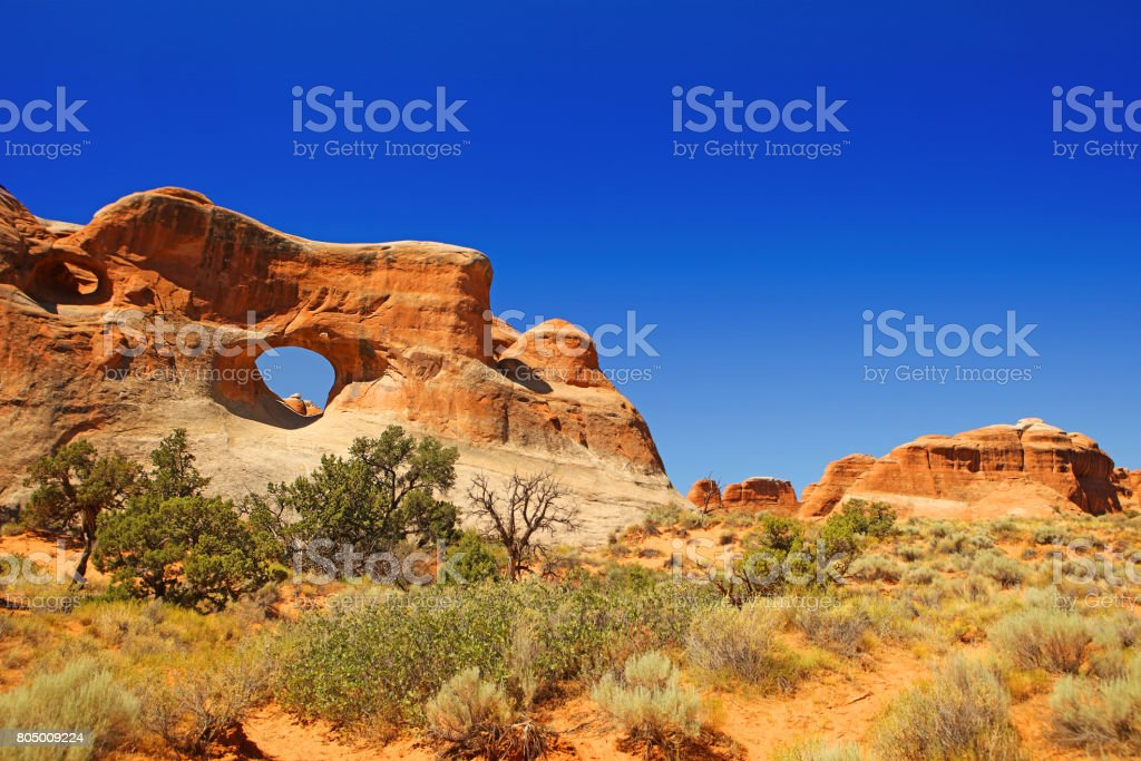 Tunnel Arch at Devils Garden in Arches National Park stock photo