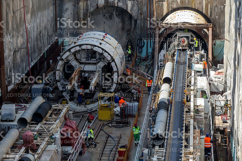 Tunnel Boring Machines at construction site of metro stock photo