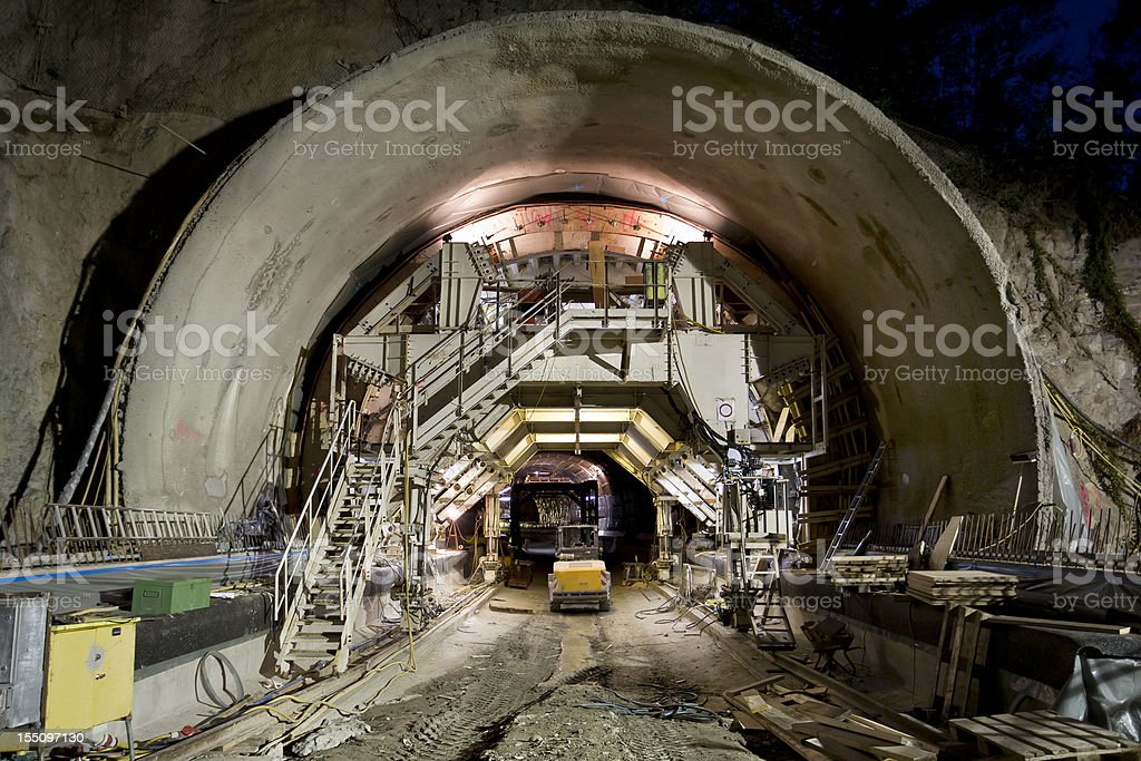 Tunnel construction site stock photo
