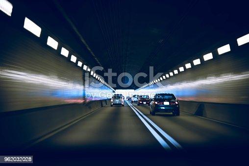 Driving through a underground tunnel.