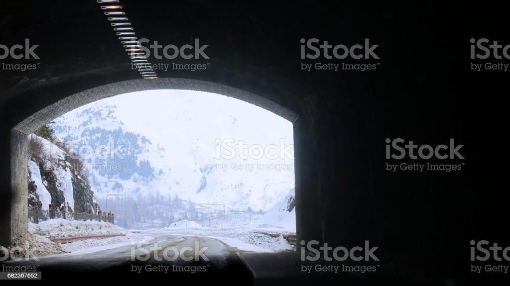 tunnel exit in snow zbiór zdjęć royalty-free