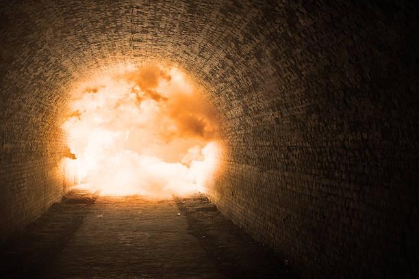 Tunnel explosion stock photo