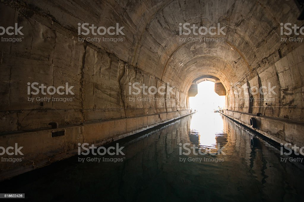 Tunnel for ships and boats - Military tunnel. stock photo