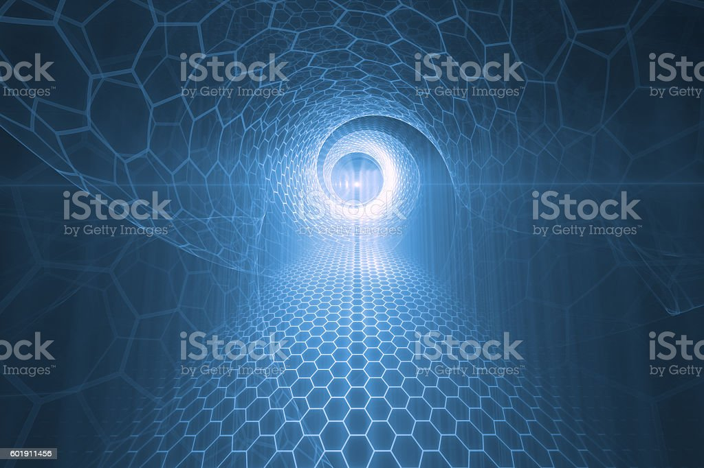 Tunnel, futuristic background stock photo