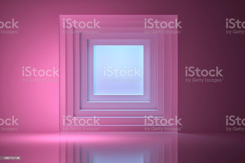Tunnel illuminated by blue light stock photo
