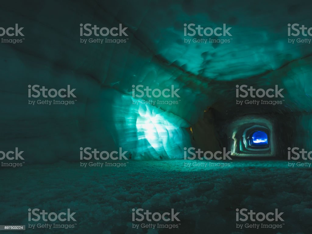 Tunnel inside ice cave in the Langjokull glacier in Iceland stock photo