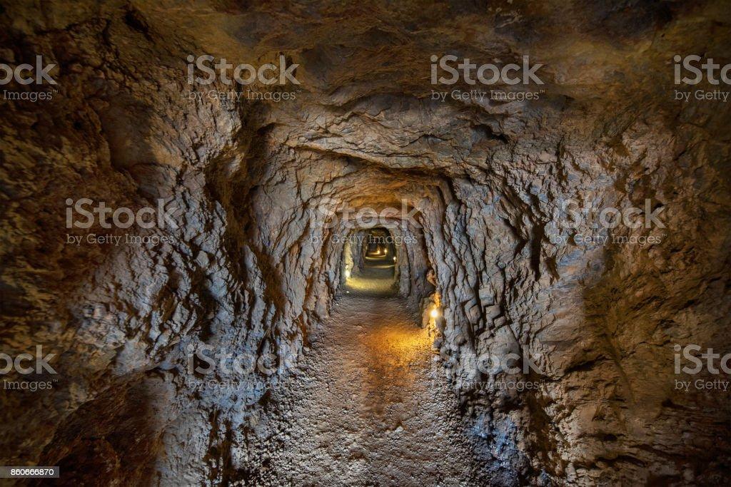 Tunnel interior in mines of la Union in Murcia, Spain. stock photo
