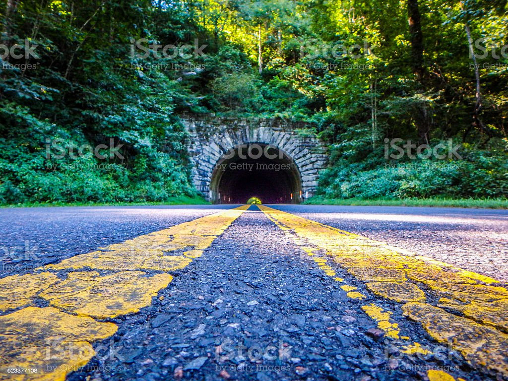 tunnel leading to blue ridge parkway stock photo