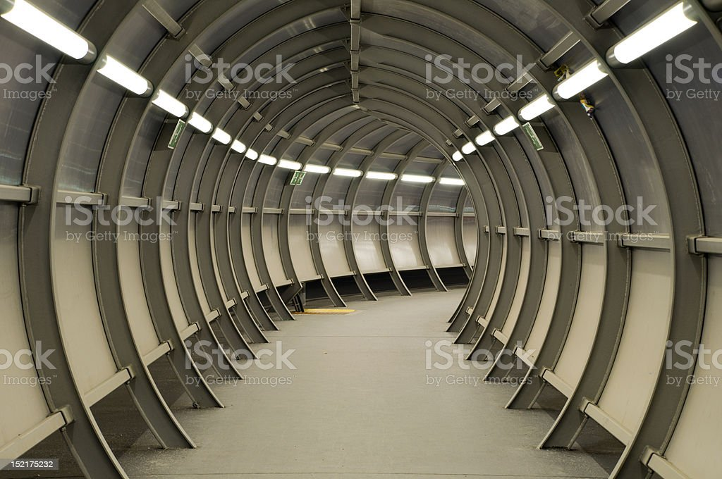 Tunnel made of metal construction royalty-free stock photo