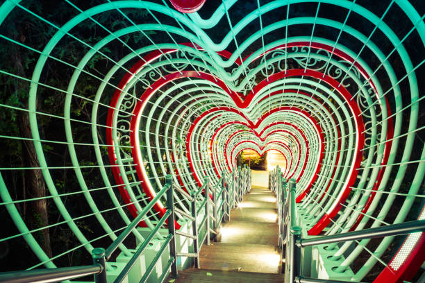 Tunnel of Hearts with Stairs stock photo