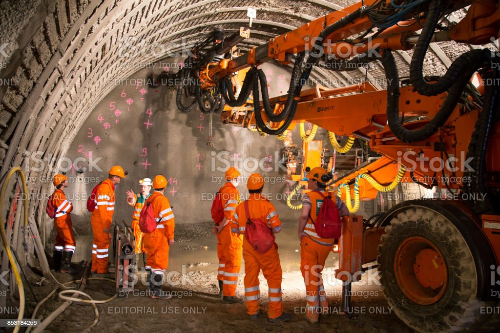 Tunnel piperoof grouting stock photo