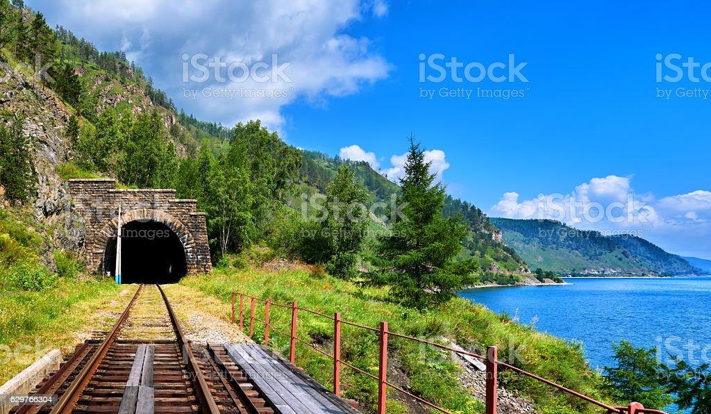 Tunnel railway near Lake Baikal and bridge in foreground stock photo