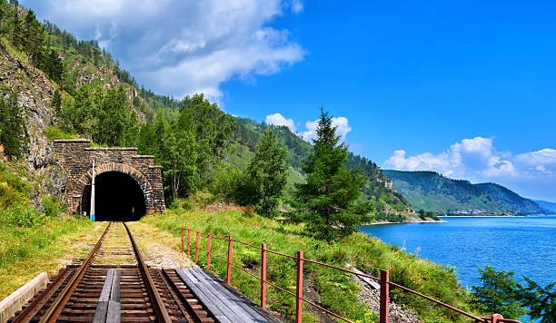 Tunnel railway near Lake Baikal and bridge in foreground – Foto
