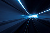Abstract blue tunnel speed motion streaks of light