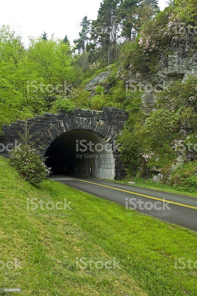 Tunnel, Spring, Blue Ridge Parkway, North Carolina stock photo