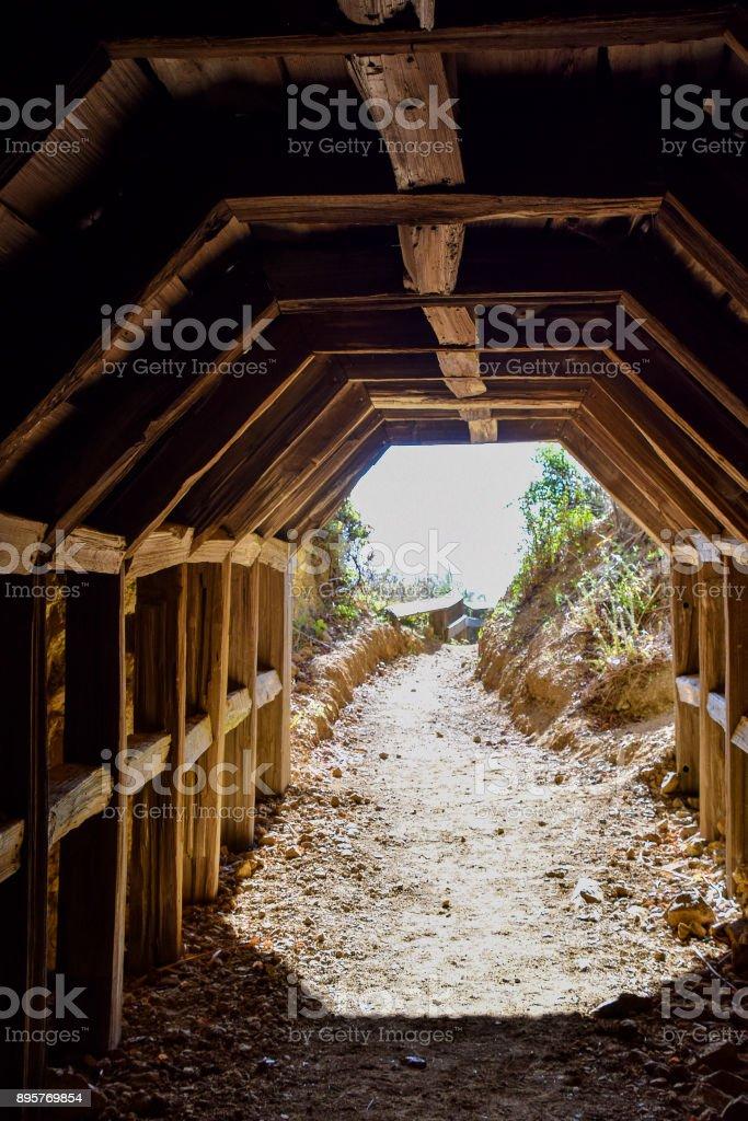 Tunnel to Partington Cove in Julia Pfeiffer State Park stock photo