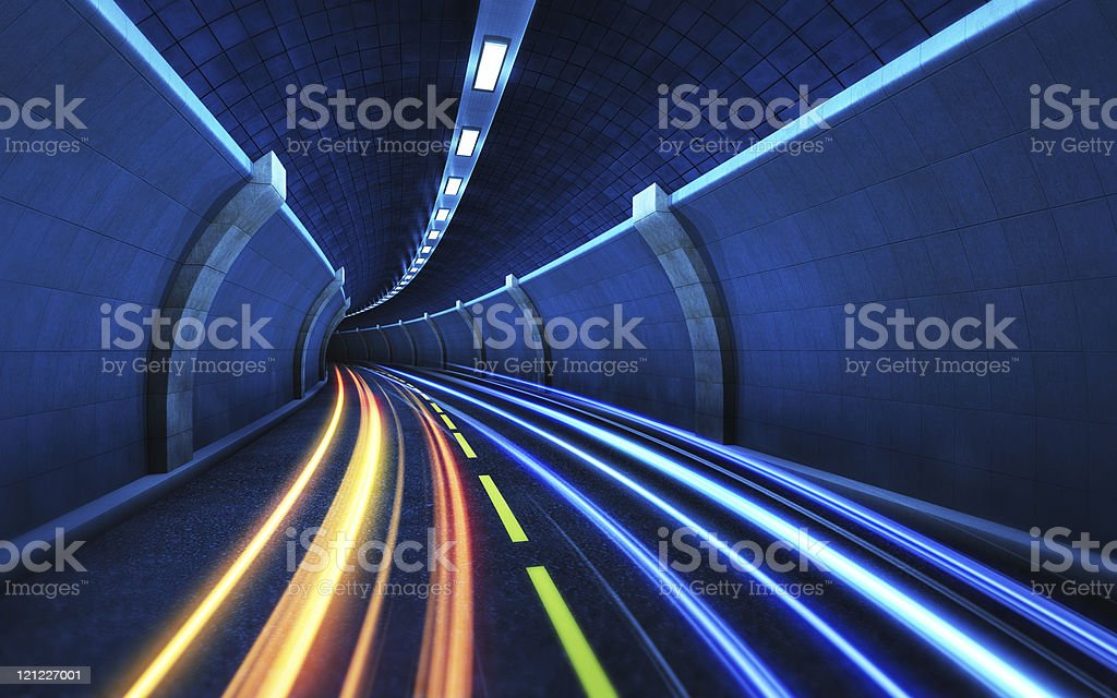 Tunnel traffic stock photo