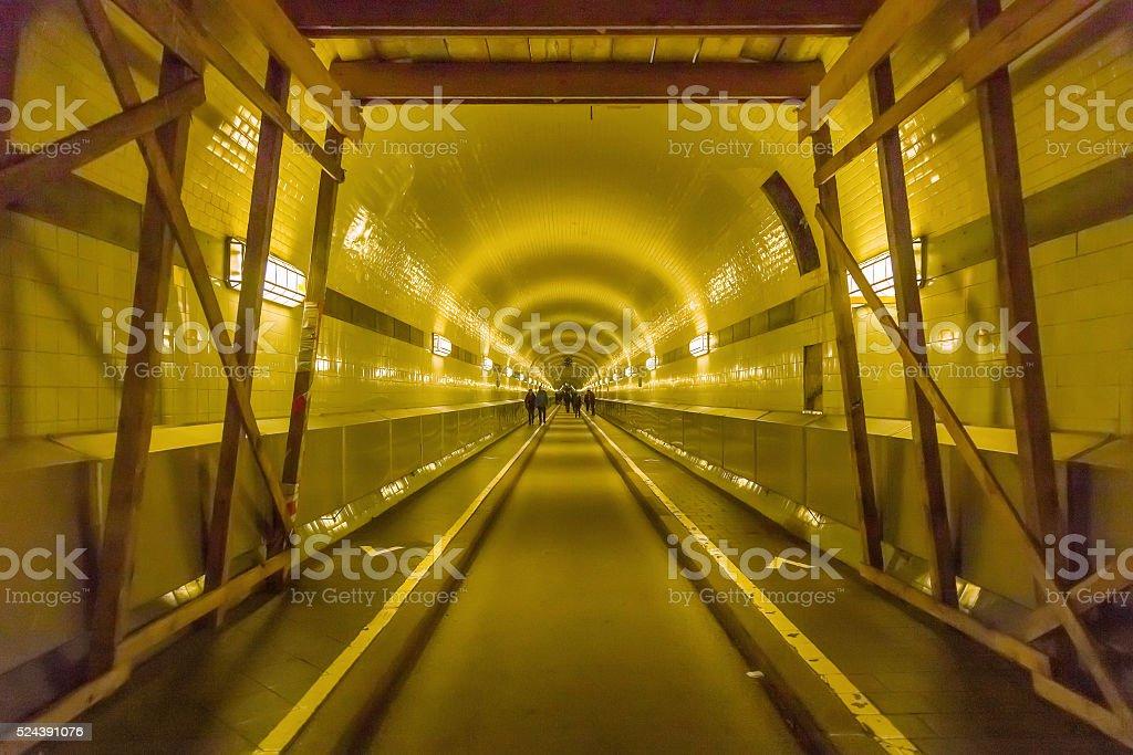 Tunnel under River Elbe in Hamburg, Germany stock photo