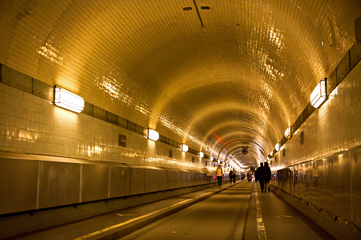 Tunnel under the Elbe river in Hamburg, Germany