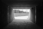 Tunnel walkway/bikeroad with lots of light coming in at the end. Fields and trees in the background. Photo in black and white.