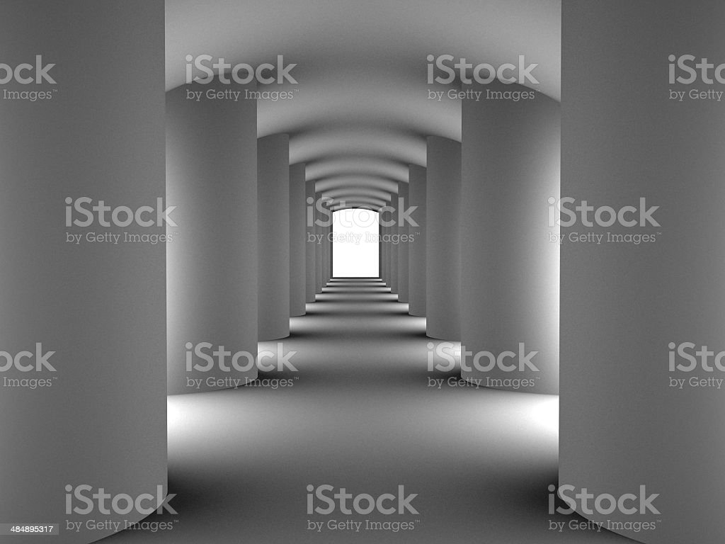 Tunnel with columns stock photo