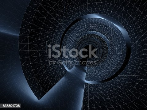 859156600 istock photo Tunnel with wire-frame structure lines 3 d 858804708