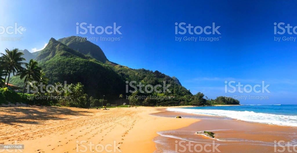 Tunnels Beach in Kauai Hawaii stock photo