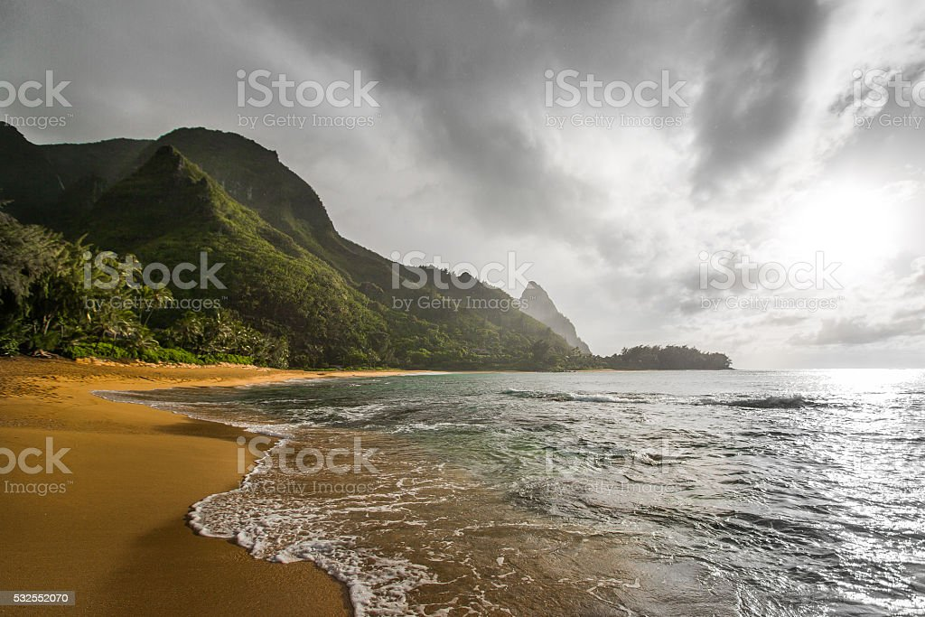 Tunnels Beach: Kauai Hawaii stock photo