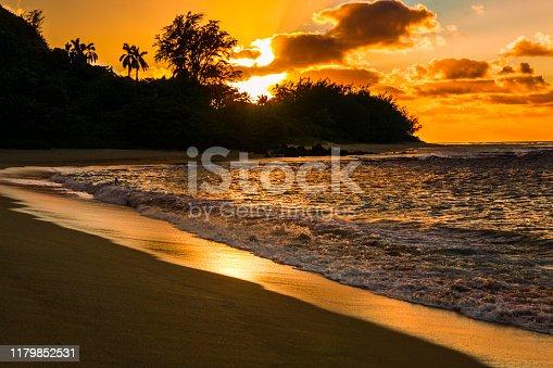 Tunnels Beach sunset, Kauai, Hawaii Islands.