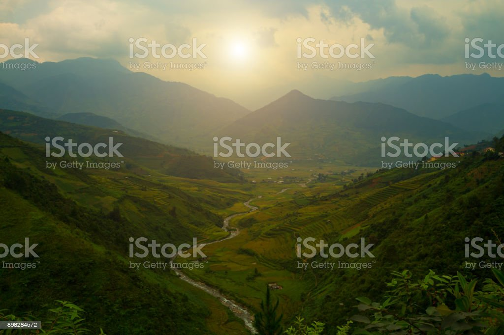 tunning views of the mountains, sunrise. stock photo