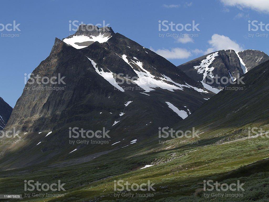 Tuolpagorni peak in Kebnekaise National Park stock photo