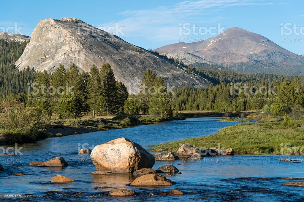 Tuolumne River with Lembert Dome and Mount Dana stock photo