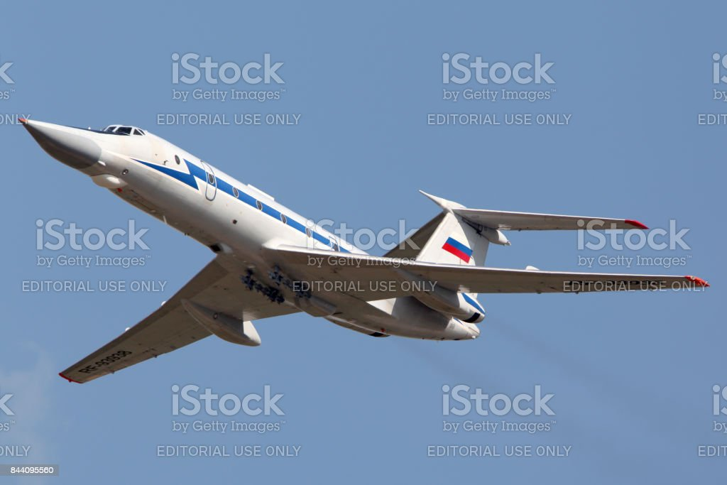 Tupolev Tu-134UB-KM RF-93938 shown at 100 years anniversary of Russian Air Forces in Zhukovsky. stock photo