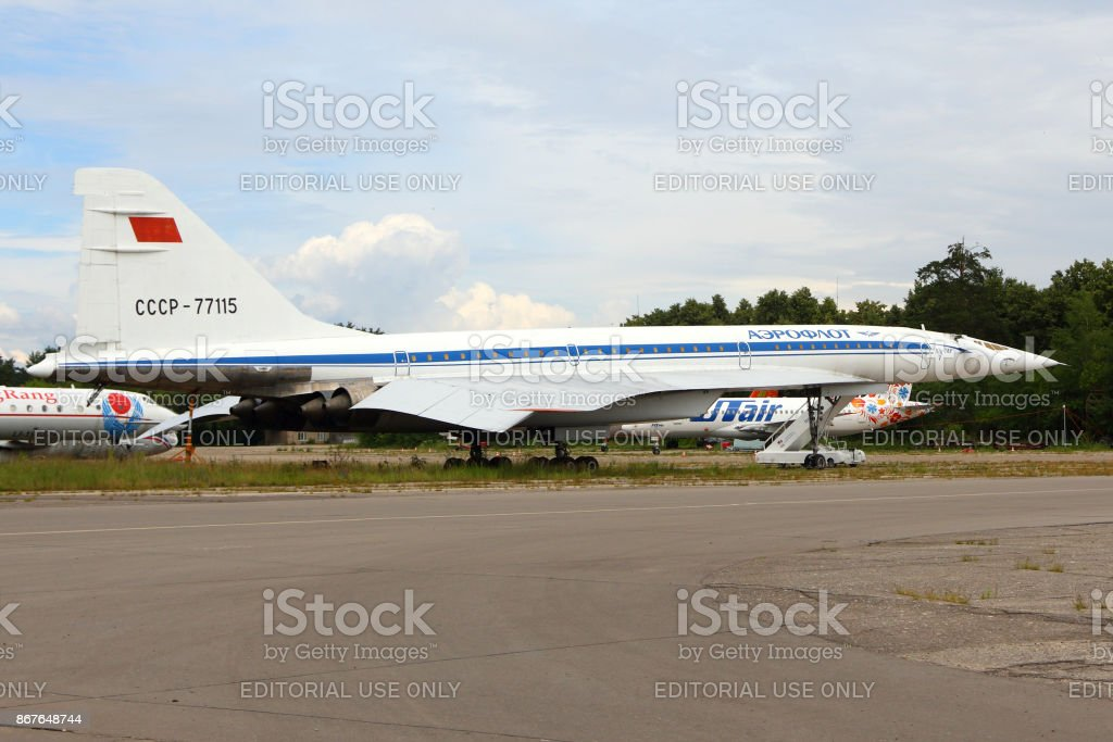 Tupolev Tu-144 RA-77115 of Tupolev Design Bureau standing Zhukovsky during MAKS-2015 airshow. stock photo