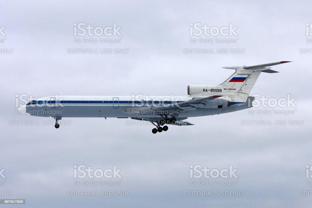 Tupolev Tu-154B-2 of Russian Air Force landing at Chkalovsky. stock photo