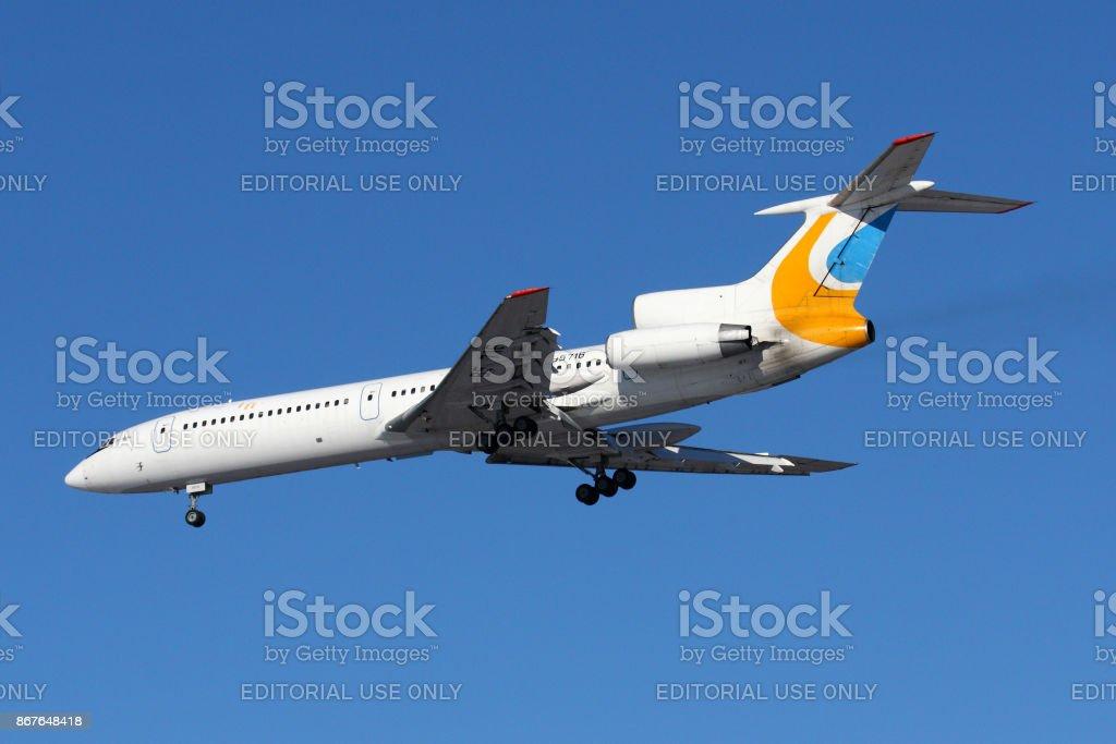 Tupolev Tu-154M RA-85716 of former Air Union airline landing at Sheremetyevo international airport. stock photo