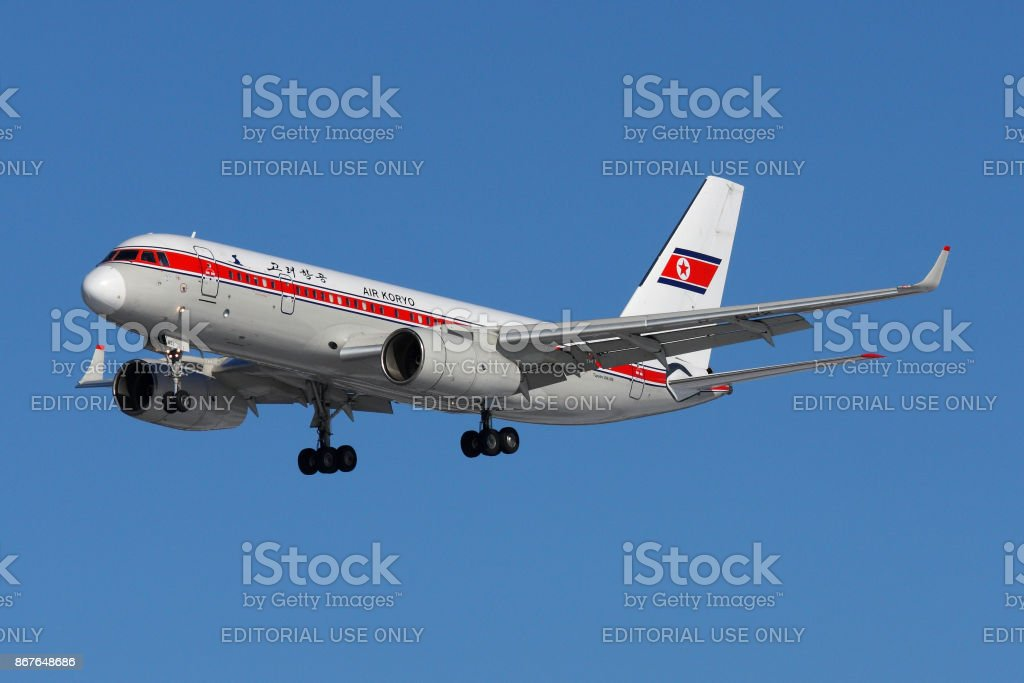 Tupolev Tu-204-300 P-632 of Air Koryo airlines landing at Sheremetyevo international airport. stock photo