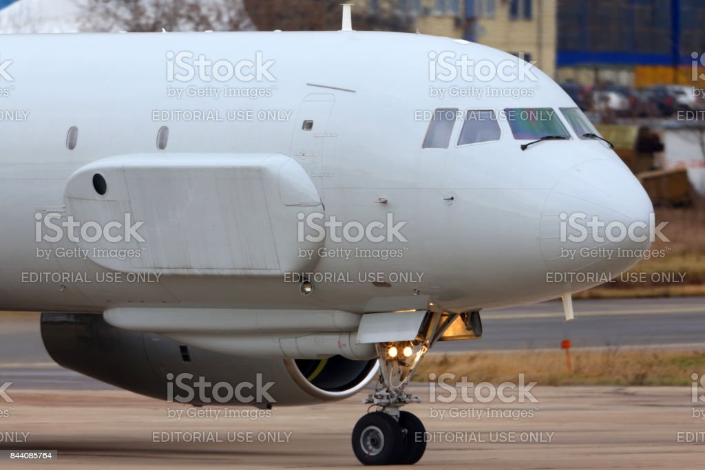 Tupolev Tu-204R 64511 reconnaissance aircraft of russian air force taxiing at Zhukovsky. stock photo