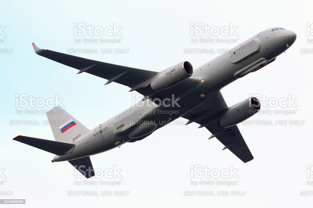 Tupolev Tu-204R 64511 reconnaissance aircraft of Russian air force performing test flight at Zhukovsky. stock photo