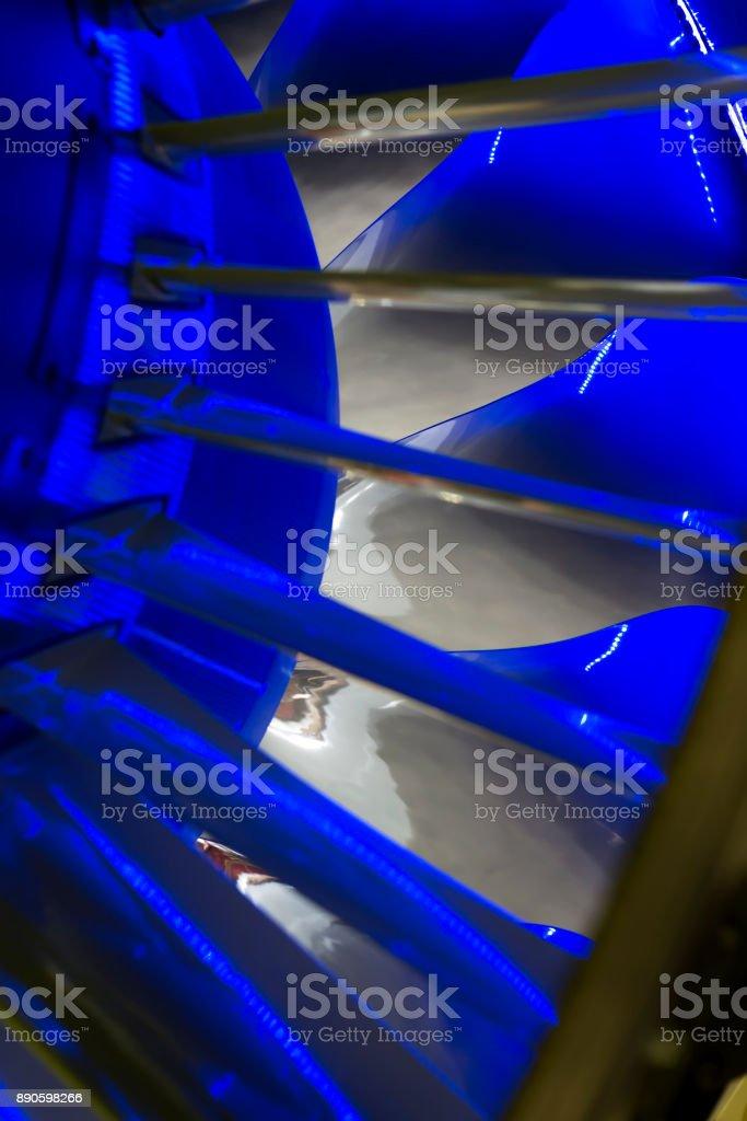 Turbine Blades. Blue light stock photo