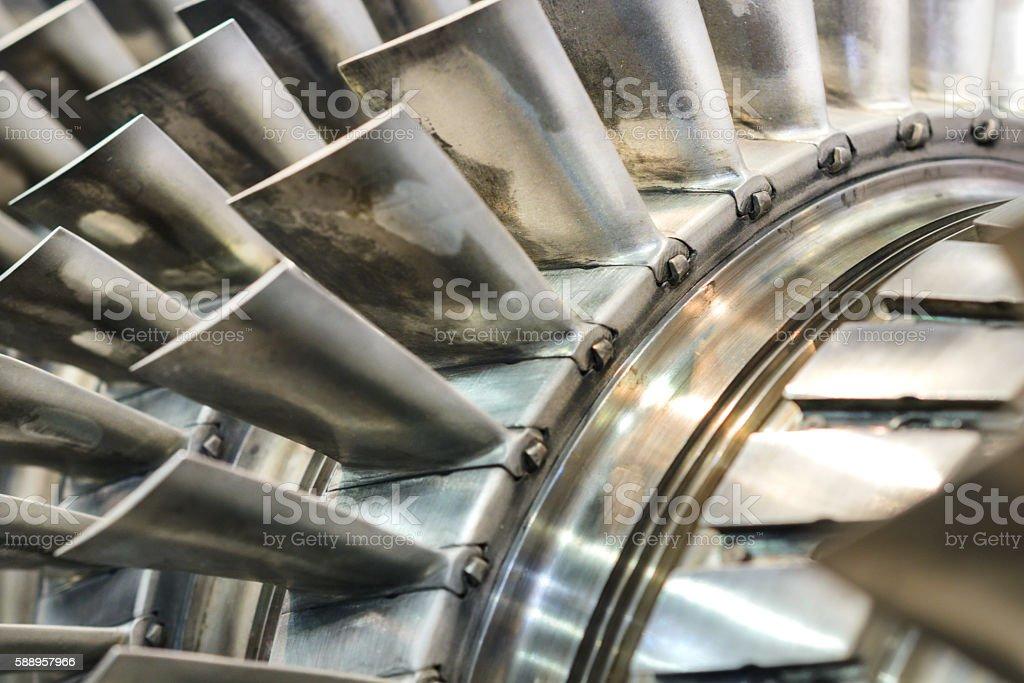 Turbine blades closeup. Shallow depth of field. stock photo