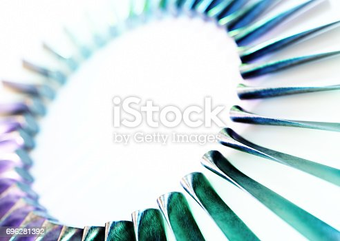 istock Turbine blades industrial abstract isolated on white background. 696281392
