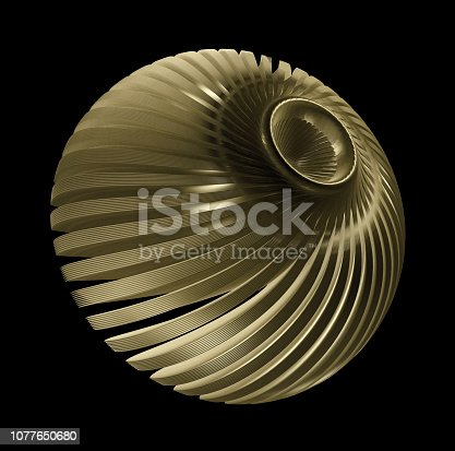 536680742 istock photo Turbine Blades Isolated On Black Background, 3d rendering 1077650680