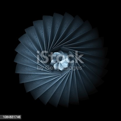 536680742 istock photo Turbine Blades Isolated On Black Background, 3d rendering 1084831746