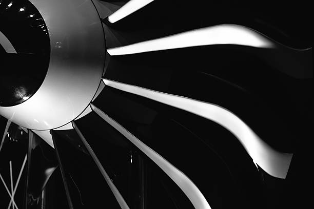Turbine Blades of An Aircraft Jet Engine stock photo
