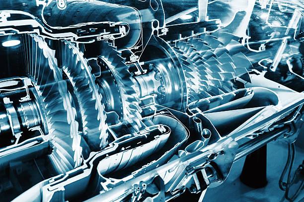 Turbine moteur profil. Technologies de l'aviation. - Photo