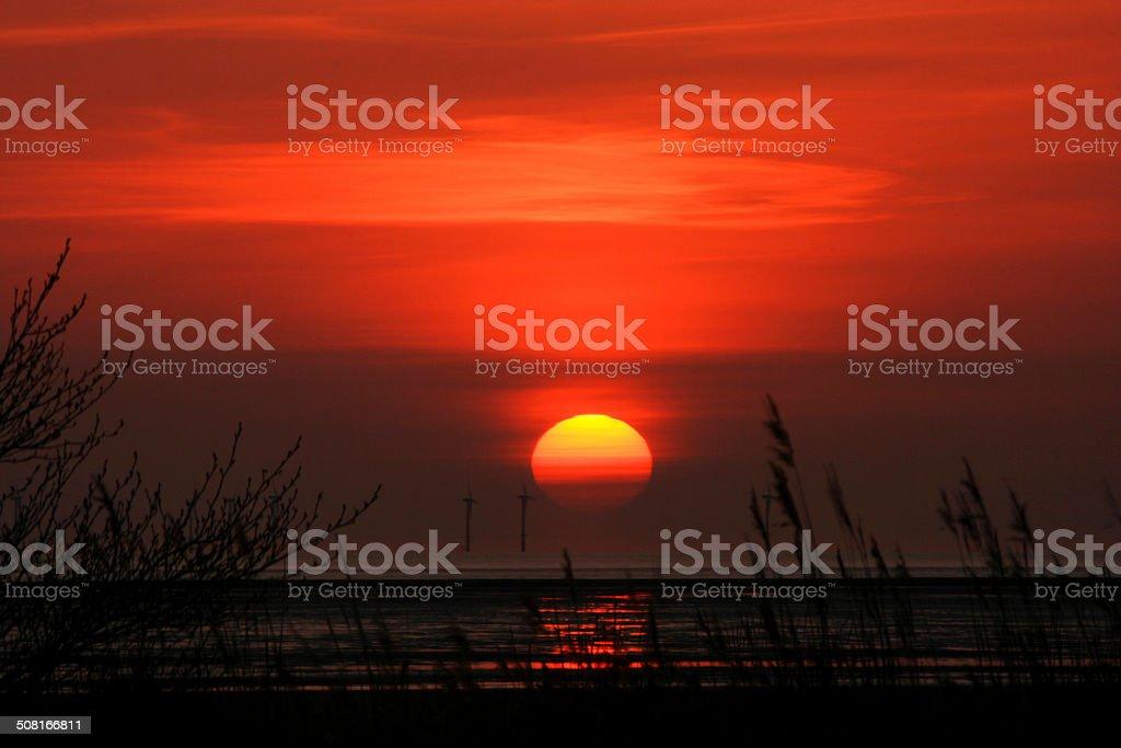 Turbine Sunset stock photo