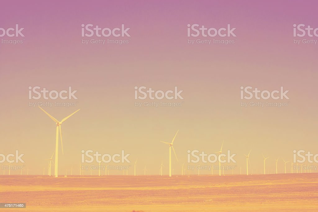turbines in the desert lomography stock photo