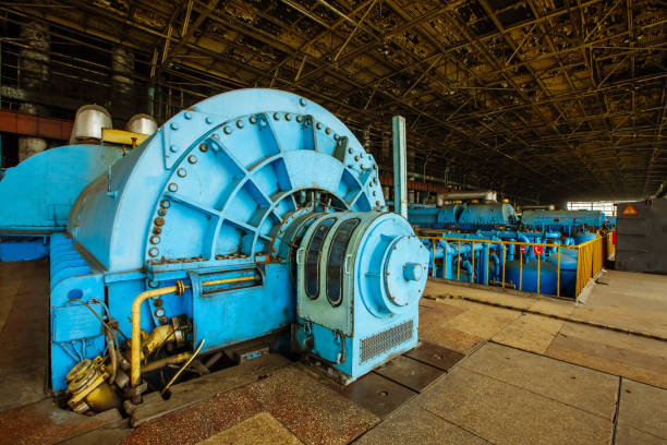 turbines in the engine compartment for steam turbines of a nuclear power plant - musica industrial foto e immagini stock