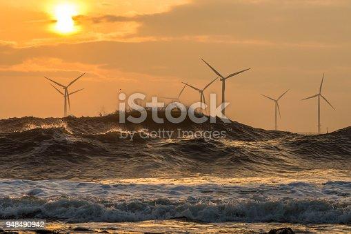 Wind turbines at sunrise off the North East coast